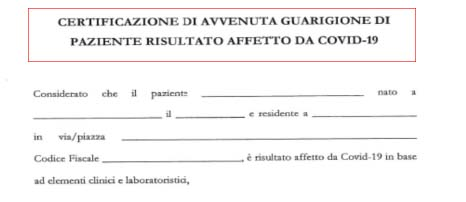 certificato rientro al lavoro dopo corona virus